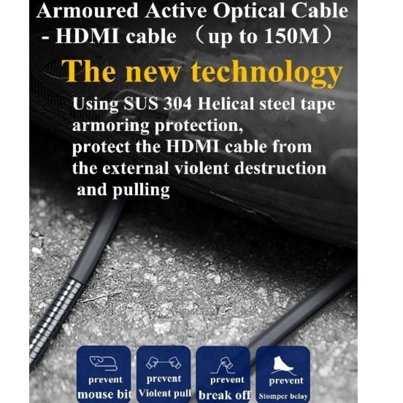 HDMI AOC armoured cable support 4K@60hz 18G ARC 3D for outdoor multimedia display